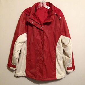 Athletech 3 in 1 Women's Red Hooded Coat Jacket